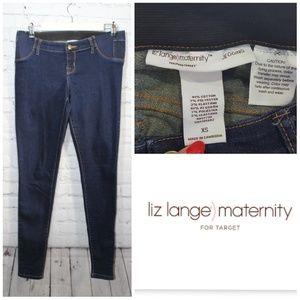 Liz Lange for Target Jeans - Liz Lange maternity  dark blue denim leggings XS